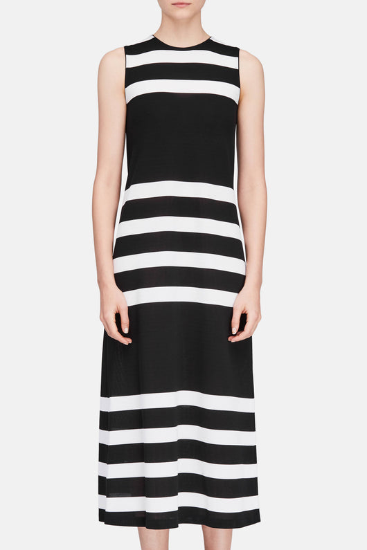Sleeveless Long Dress - Black/White Stripe
