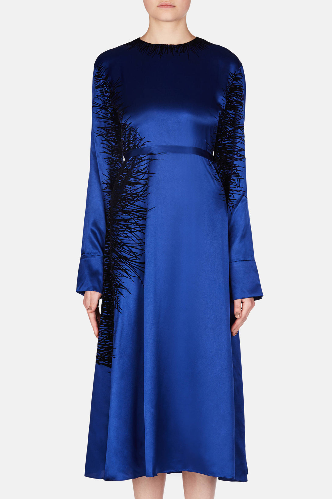 Dress with Flocked Feather Print - Royal Blue