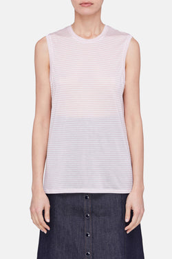 Striped Muscle Tank - White/Pink Stripe