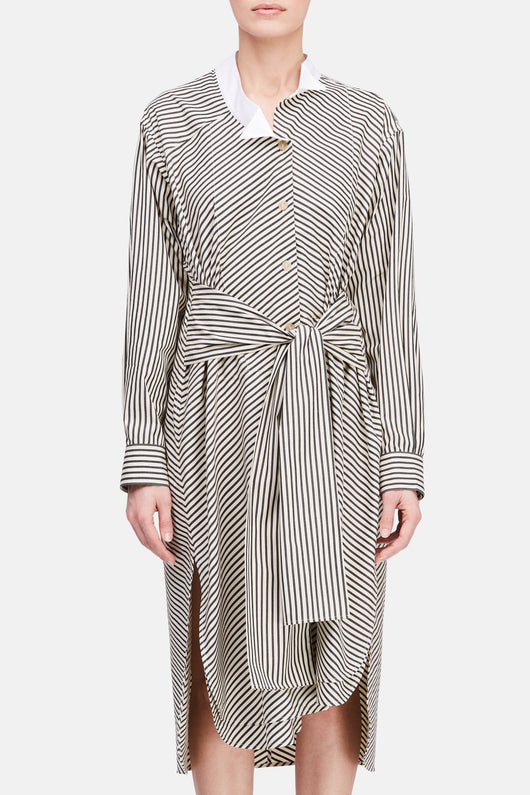Striped Shirtdress - White/Black