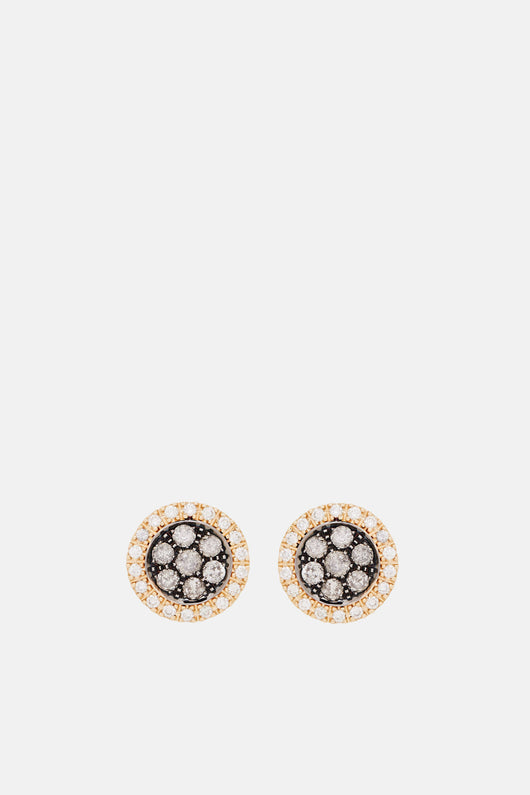Surround Pave Earrings  - Yellow Gold/Oxid Gold