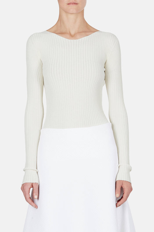Sweater 06 Rib Extended Sleeve Top - Ivory