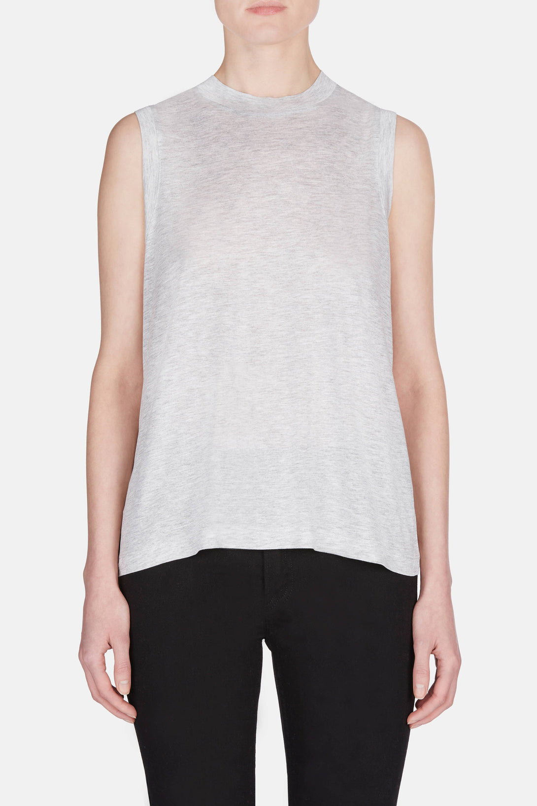 Viscose Jersey High Neck Flared Tank - Light Heather Grey