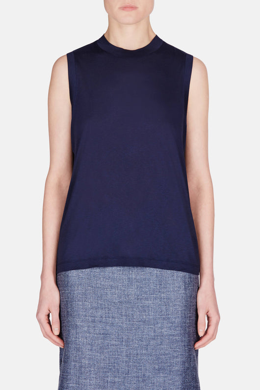 Viscose Jersey High Neck Flared Tank - Marine