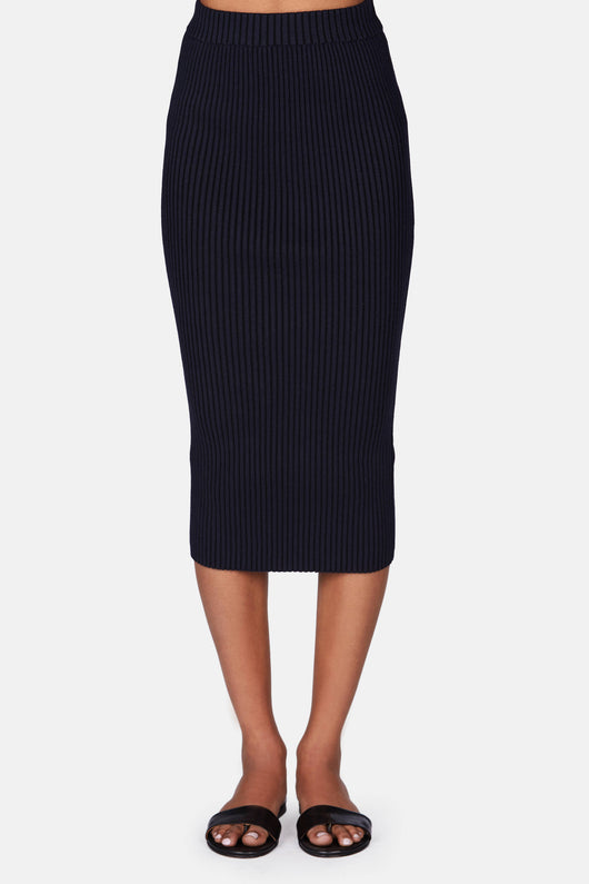 Plaited Viscose Rib Knit Fitted Midi Skirt - Midnight