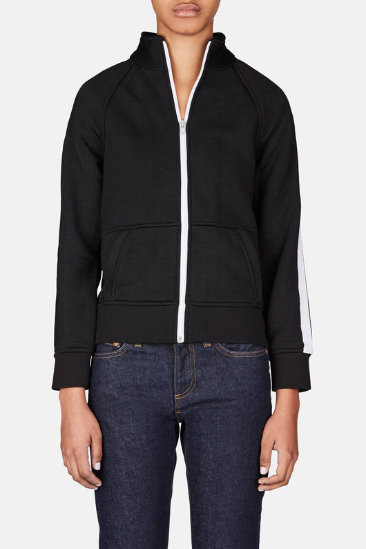 Sleek French Terry Track Jacket - Black