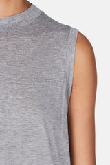 Viscose Jersey High Neck Flared Tank - Heather Grey