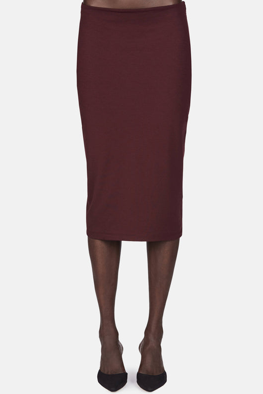 High Lux Ponte Midi Skirt - Aubergine