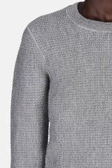 Striped Waffle Knit Crewneck Pullover - Heather Grey