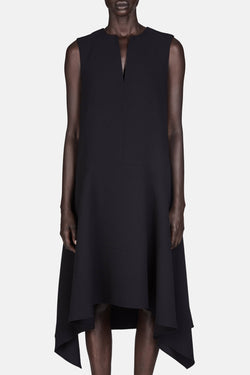Sleeveless Draped Dress - Black
