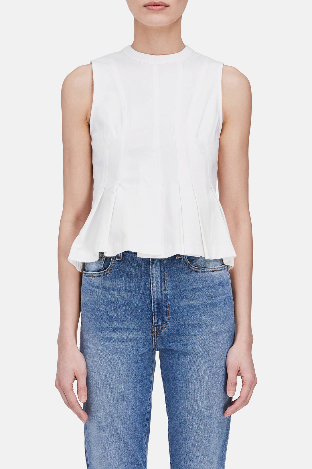 Stiff Cotton Jersey Sleeveless Peplum Top - White