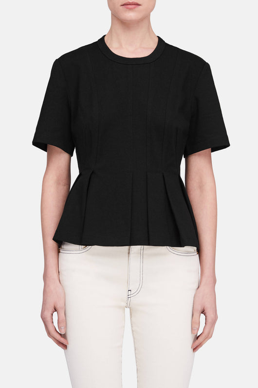 Stiff Cotton Jersey Short Sleeve Peplum Top - Black