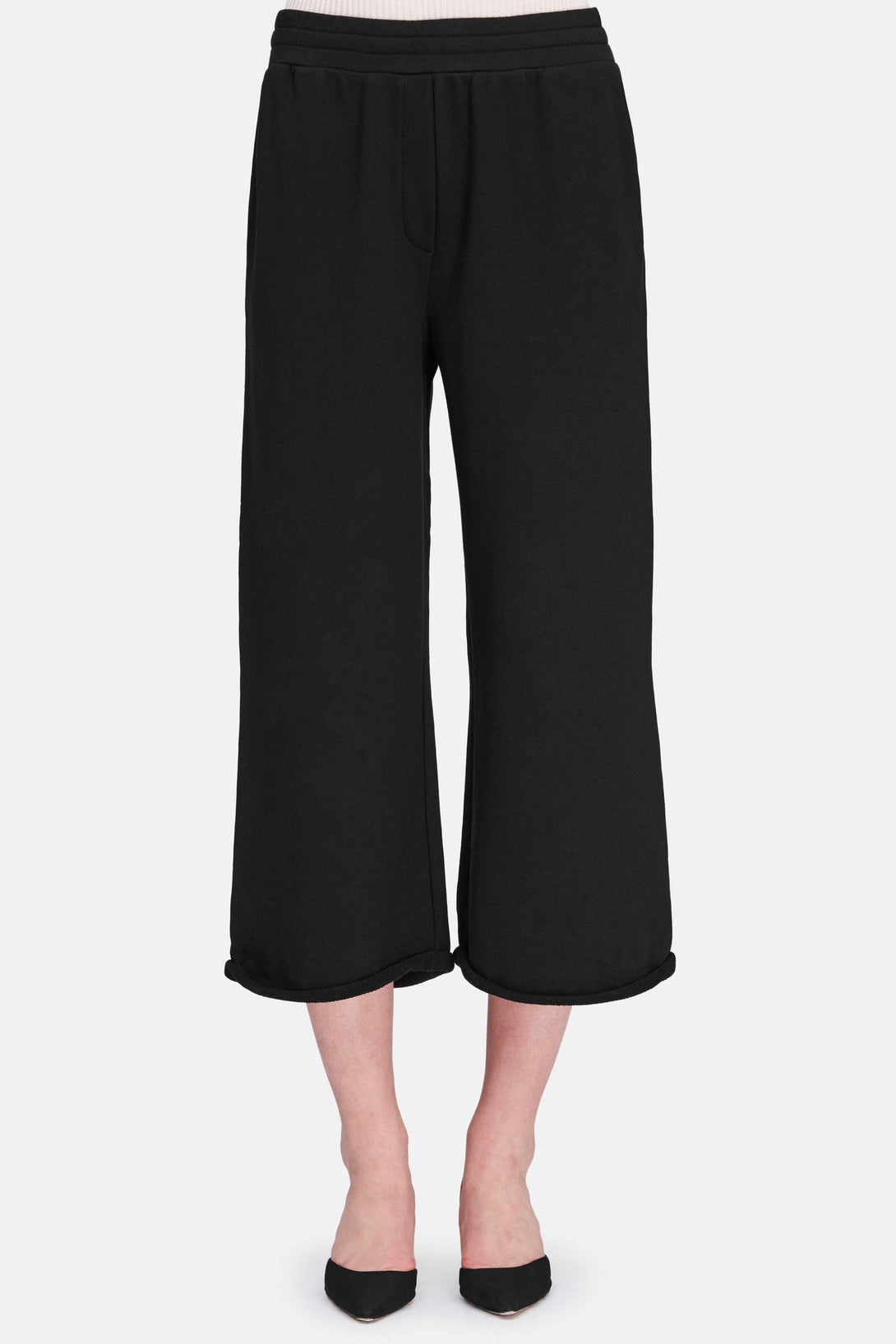 Cropped Wide Leg Sweatpants - Black