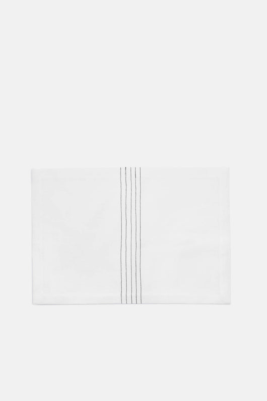 Embroidered Linen Placemat - White/Carbon