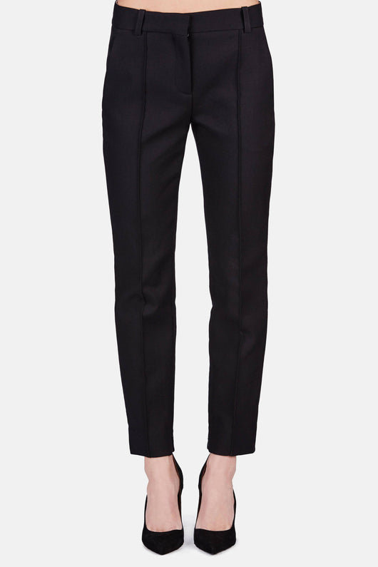 Trouser 01 Cigarette Trouser With Hem Zipper - Black