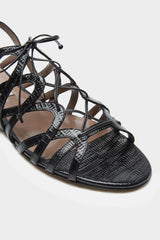 Emmie - Black Embossed Lizard