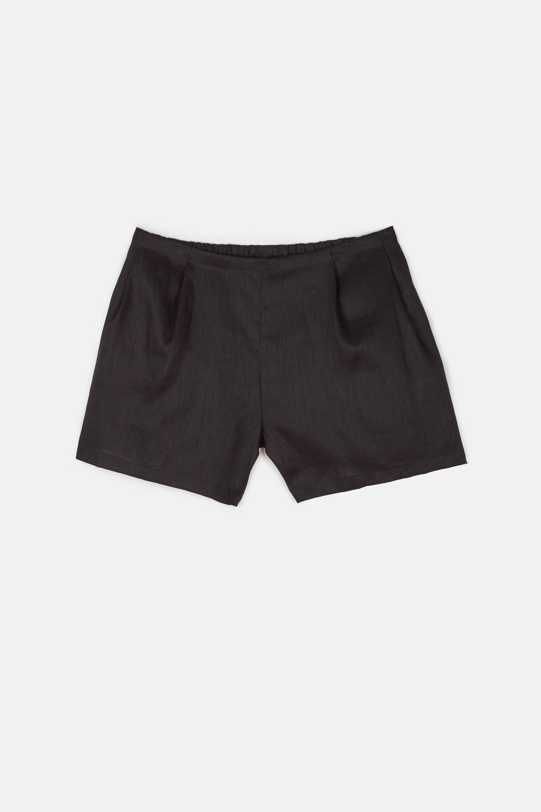 Pleat Short - Black Linen
