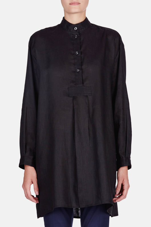 Short Sleep Shirt - Black Linen
