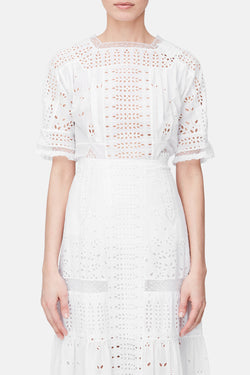 Broderie Anglaise Top - White