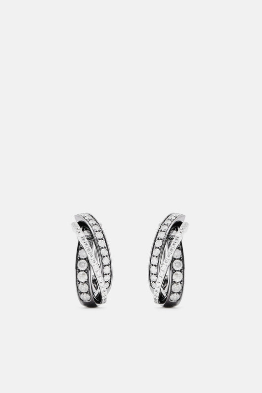 Trittico Earrings - White Gold Oxid/Rhod