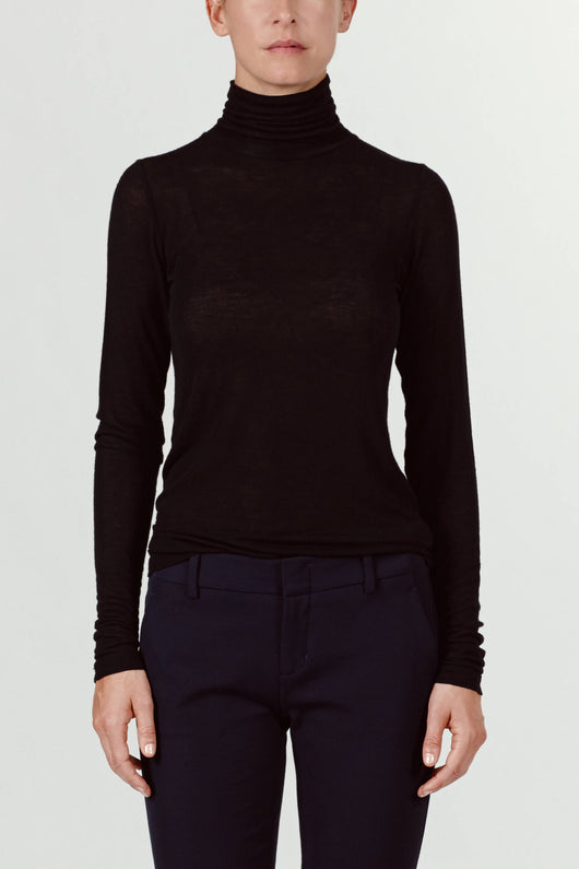 Sheer Jersey Turtleneck - Black