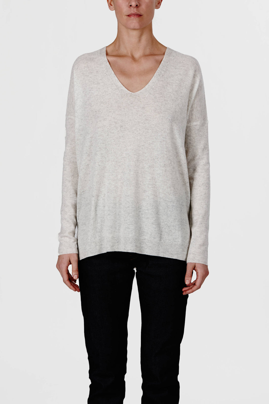 Cashmere Rack Stitch V-Neck - H Cloud