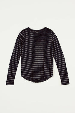Linen Striped Long-Sleeved Tee - H Coastal/H Grey