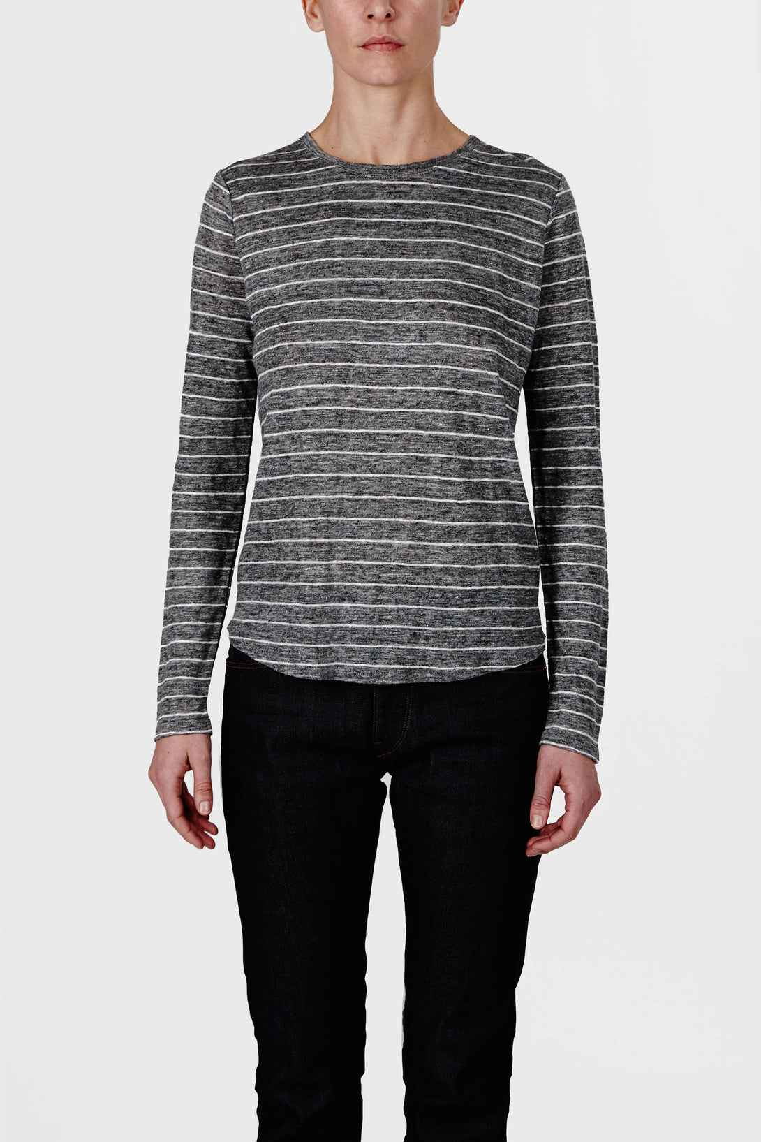 a739ca9cf0 Linen Striped Long-Sleeved Tee - Dark H Grey/White – The Line