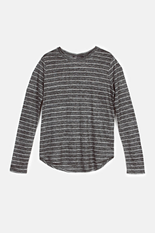 Linen Striped Long-Sleeved Tee - Dark H Grey/White