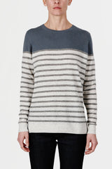 Cashmere Colorblock Breton Stripe Sweater - Hickory Blue