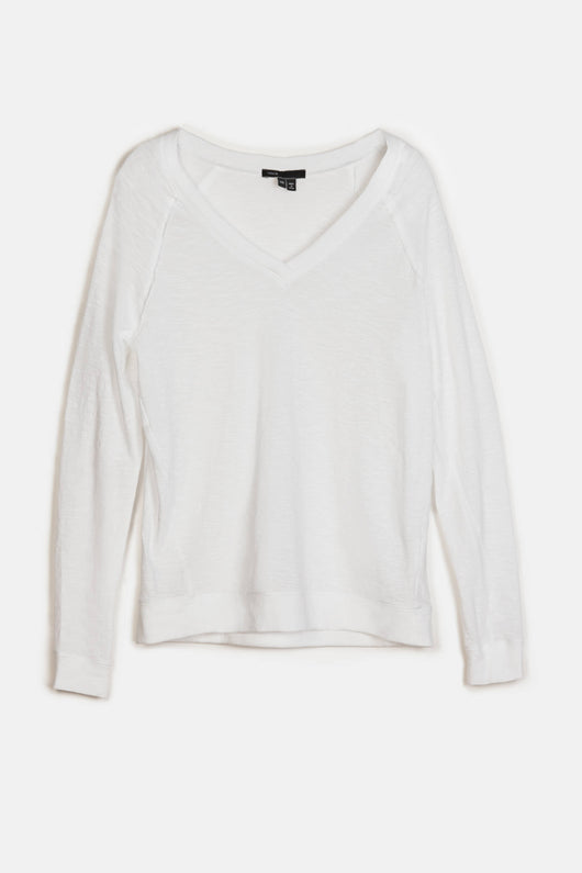 Slub Long-Sleeved V-Neck Tee - White