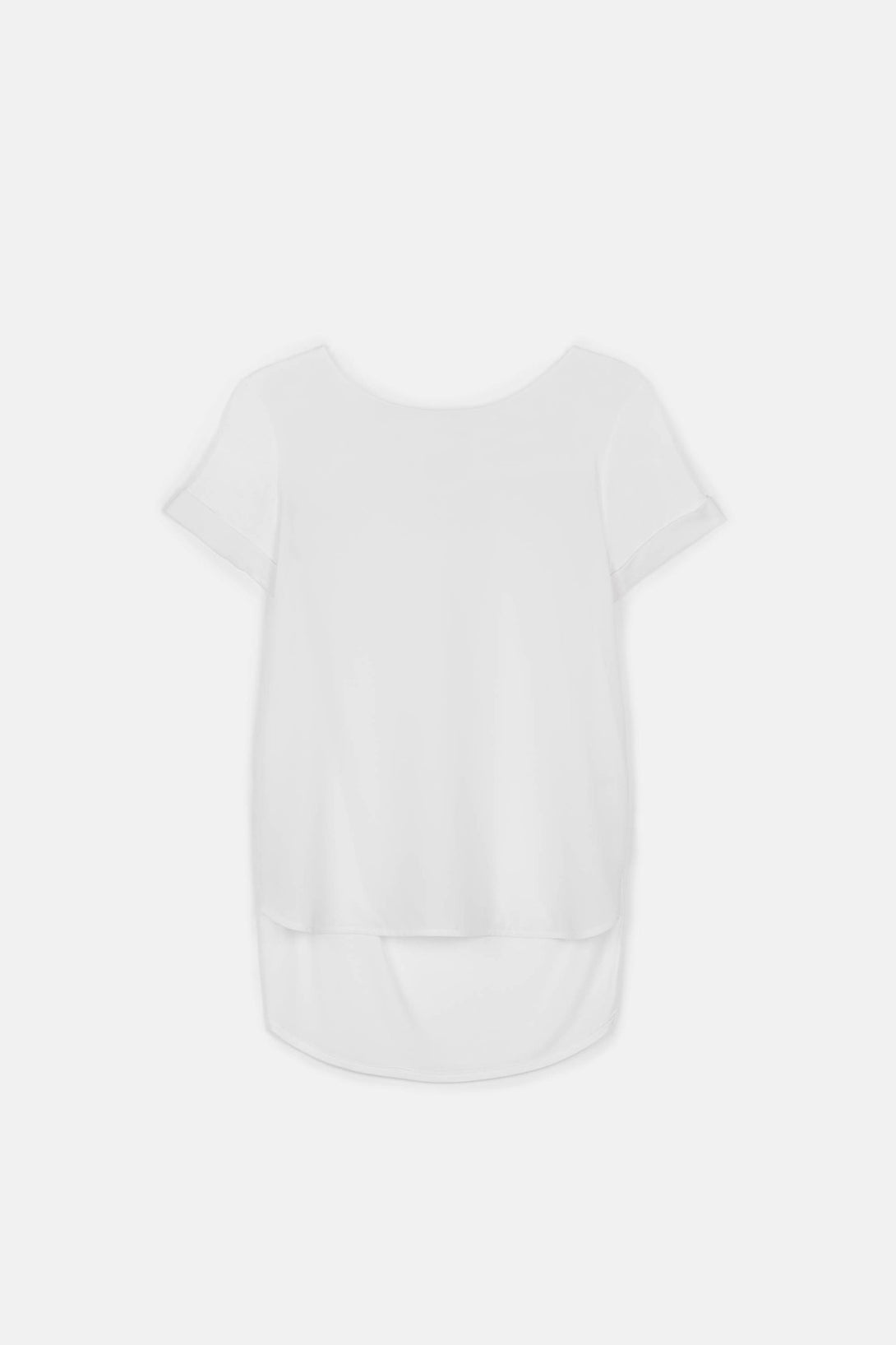 Silk Front Shirttail Tee - White