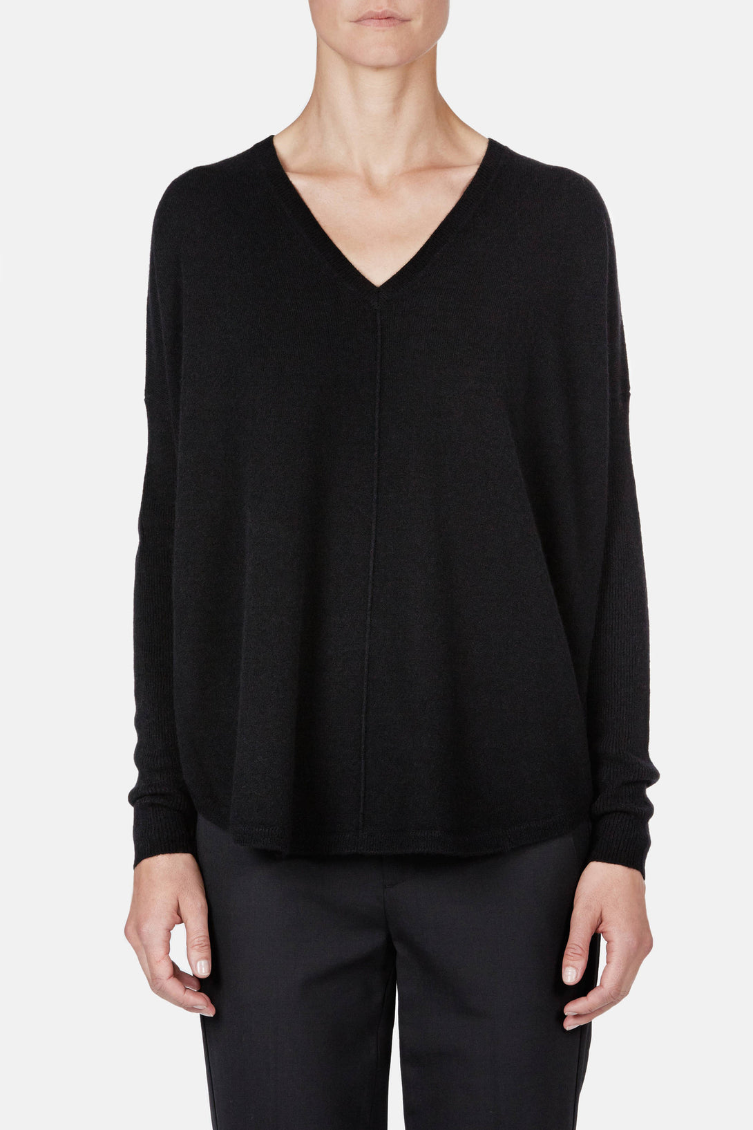 Front Seam V-Neck - Black