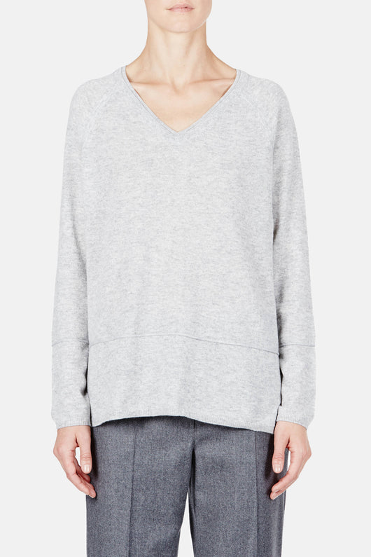 Double Trim Vee Sweater - H Steel