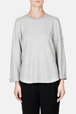 Relaxed Rolled Sleeve Crew - Light Heather Grey