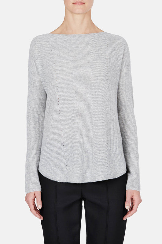 Boat Neck Shirttail Sweater - Heather Steel