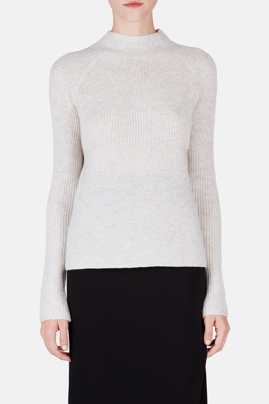 Directional Rib Mock Neck - Heather Cloud