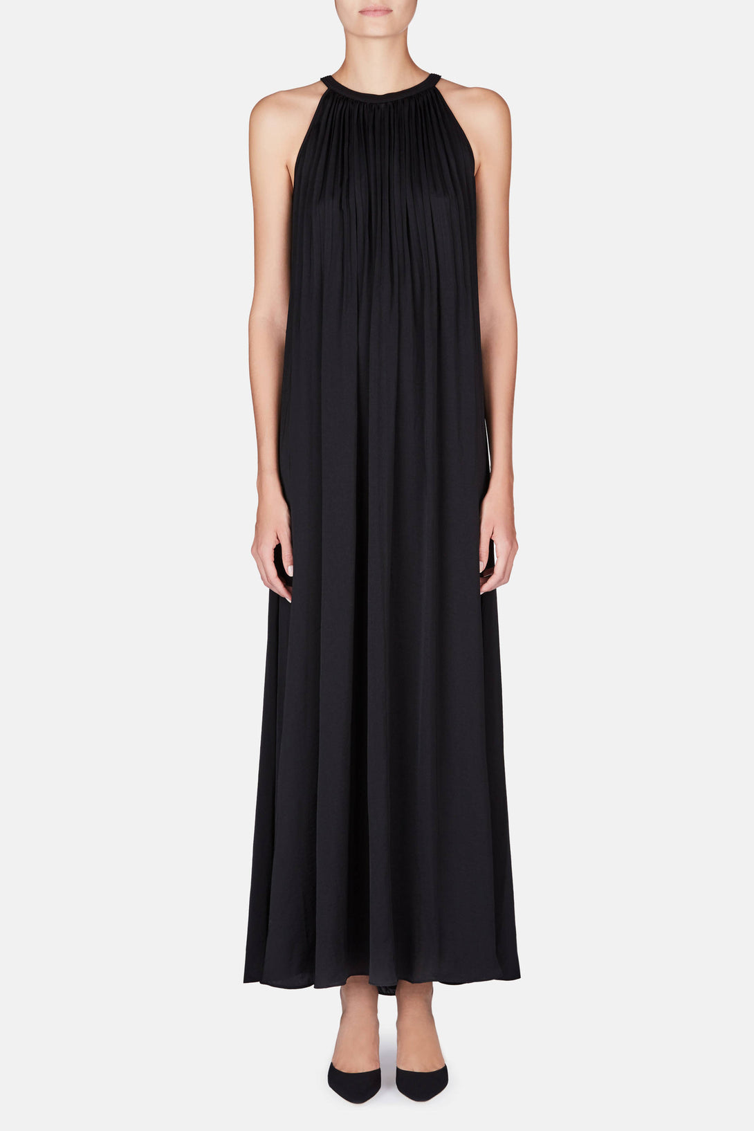 Sunburst Pleat Maxi Dress - Black