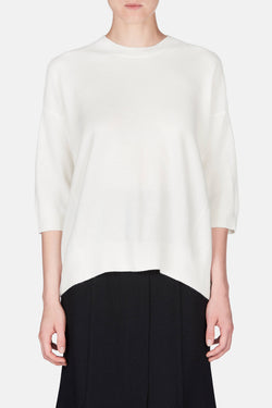 Three-Quarter Sleeve Crew - Off White