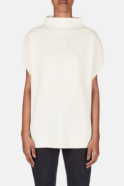 Sleeveless Turtleneck w/Panel Sides - Off White