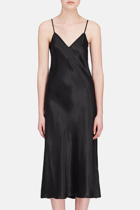 V-Neck Slip Dress - Black