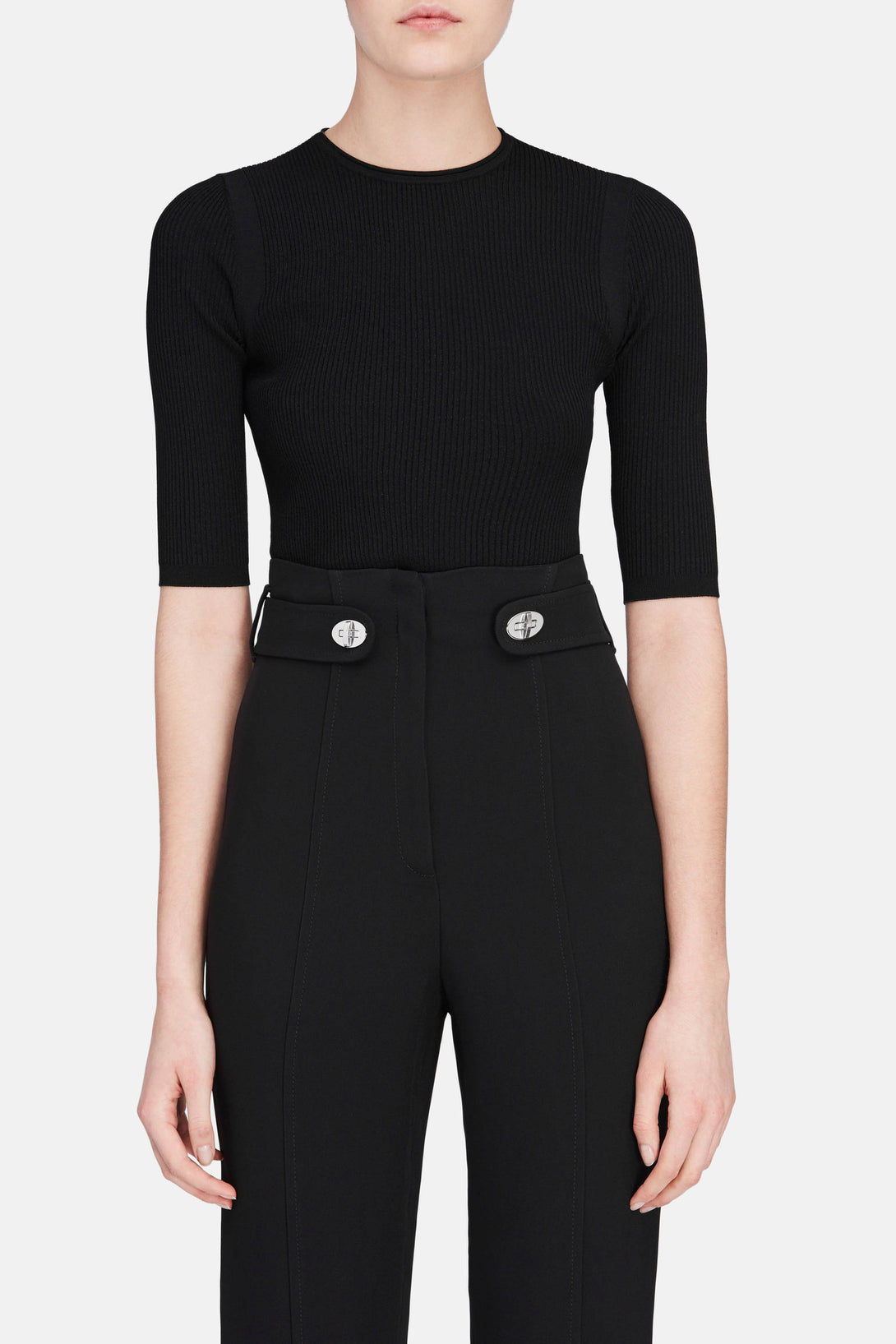 Ribbed Elbow Sleeve Cropped Pullover - Black