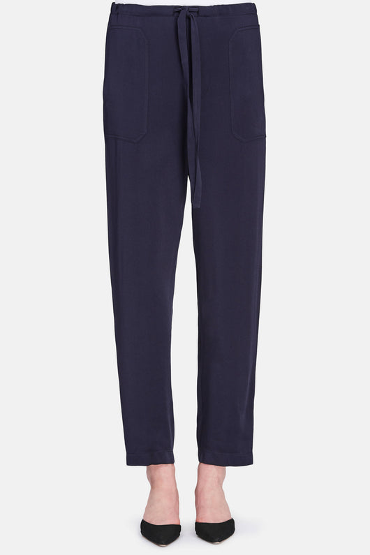 Satin Pull On Pant - Coastal Blue