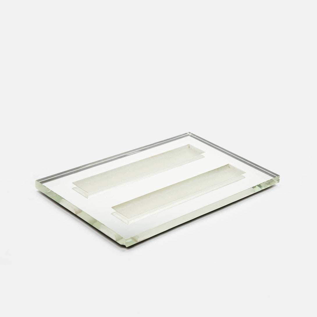 Mirrored Light Green Glass Tray by Jean Luce