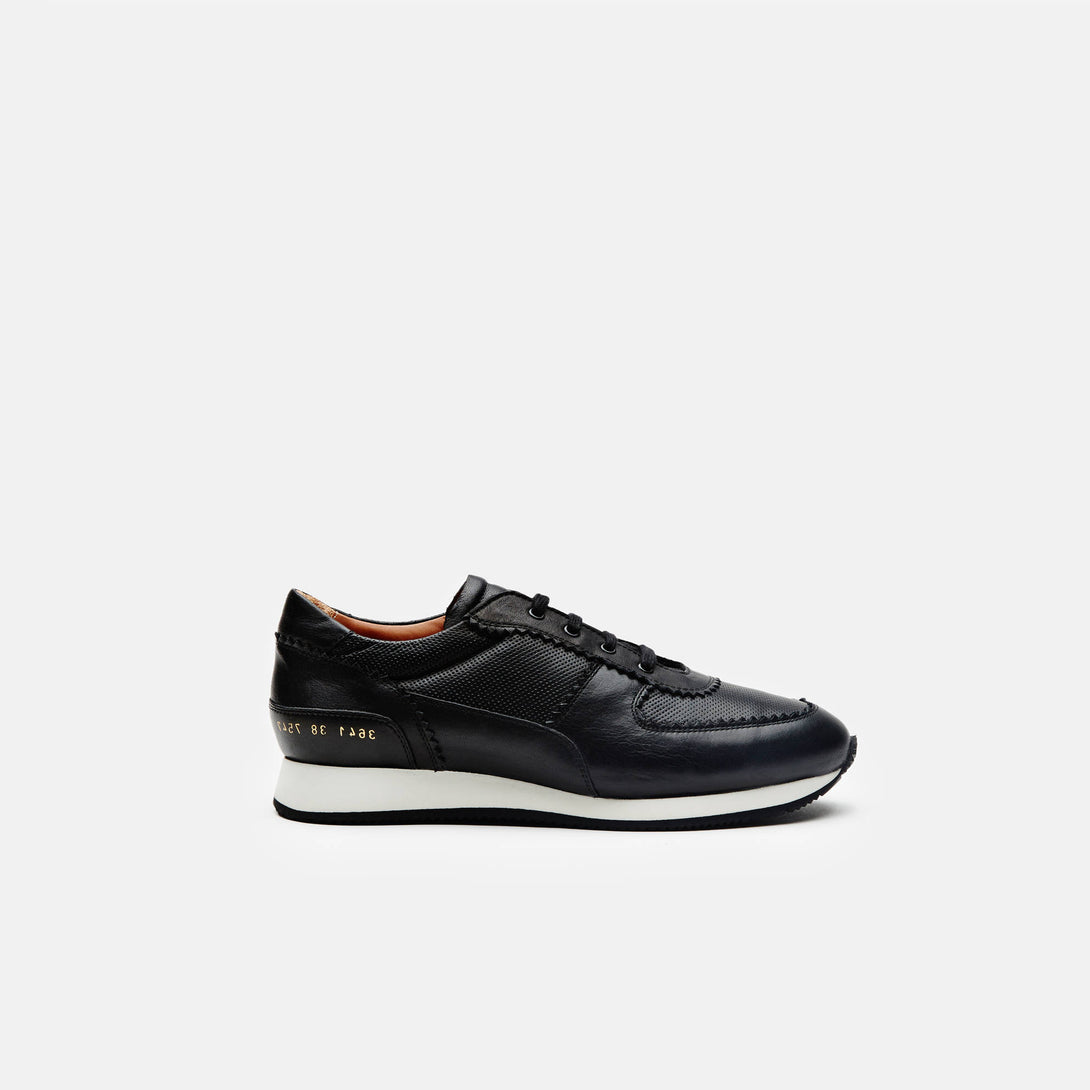 Track Shoe in Leather - Black
