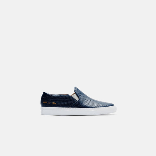 Slip-On in Perforated Leather - Navy