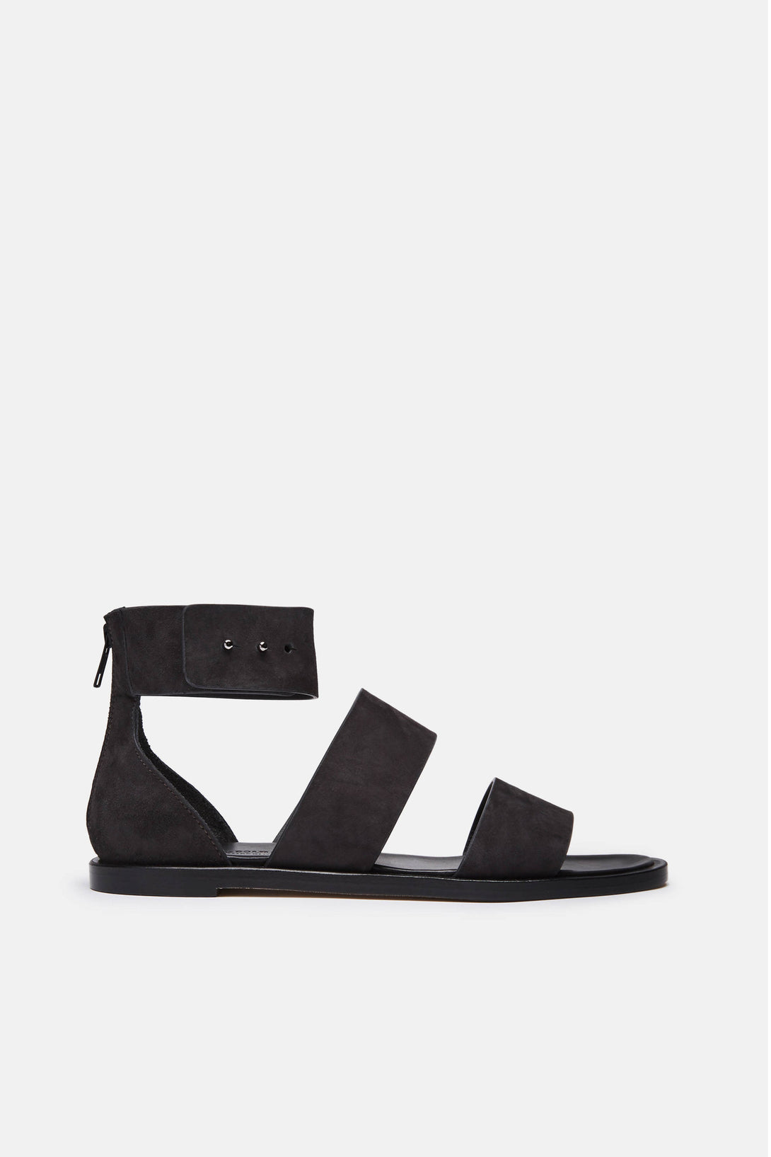 Double Strap Zip Sandal in Suede - Faded Black