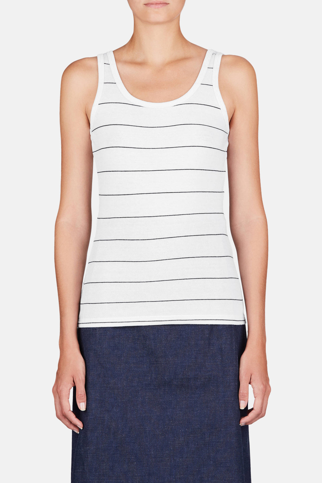 The Eloise Tank - White/Navy