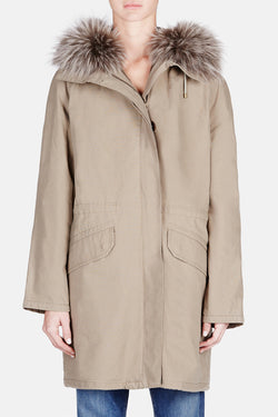 Cotton Parka with Tonal Fur Lining - Army Green