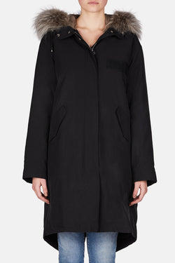 Fishtail Cotton Parka - Black